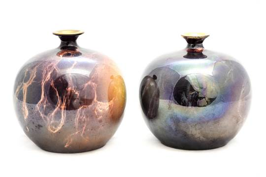 John Butler For Wilkinson A Near Pair Of Oriflamme Vases Spherical