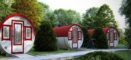 Lot 18207 - V Brand New 2.2 x 4.4m Barrel For Sleeping - Family Size - Sleeping & Sitting Rooms Inside -