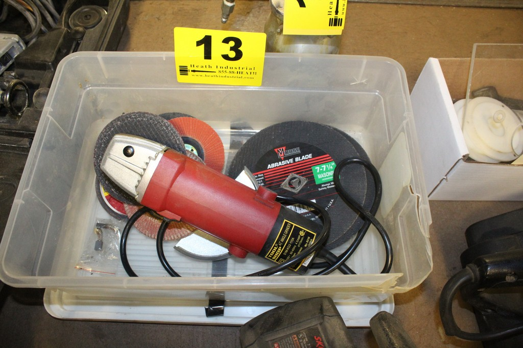 "TOOL SHOP 4-1/2"" RIGHT ANGLE GRINDER WITH WHEELS PLUS ABRASIVE CUTTING BLADES IN BOX"