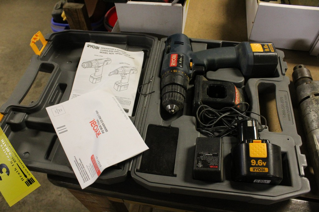 RYOBI CORDLESS DRILL, MODEL HP962, WITH CHARGER, BATTERY AND CASE