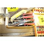 ASSORTED PLIER, METAL SNIP, WIRE BRUSHES, ETC. IN BOX