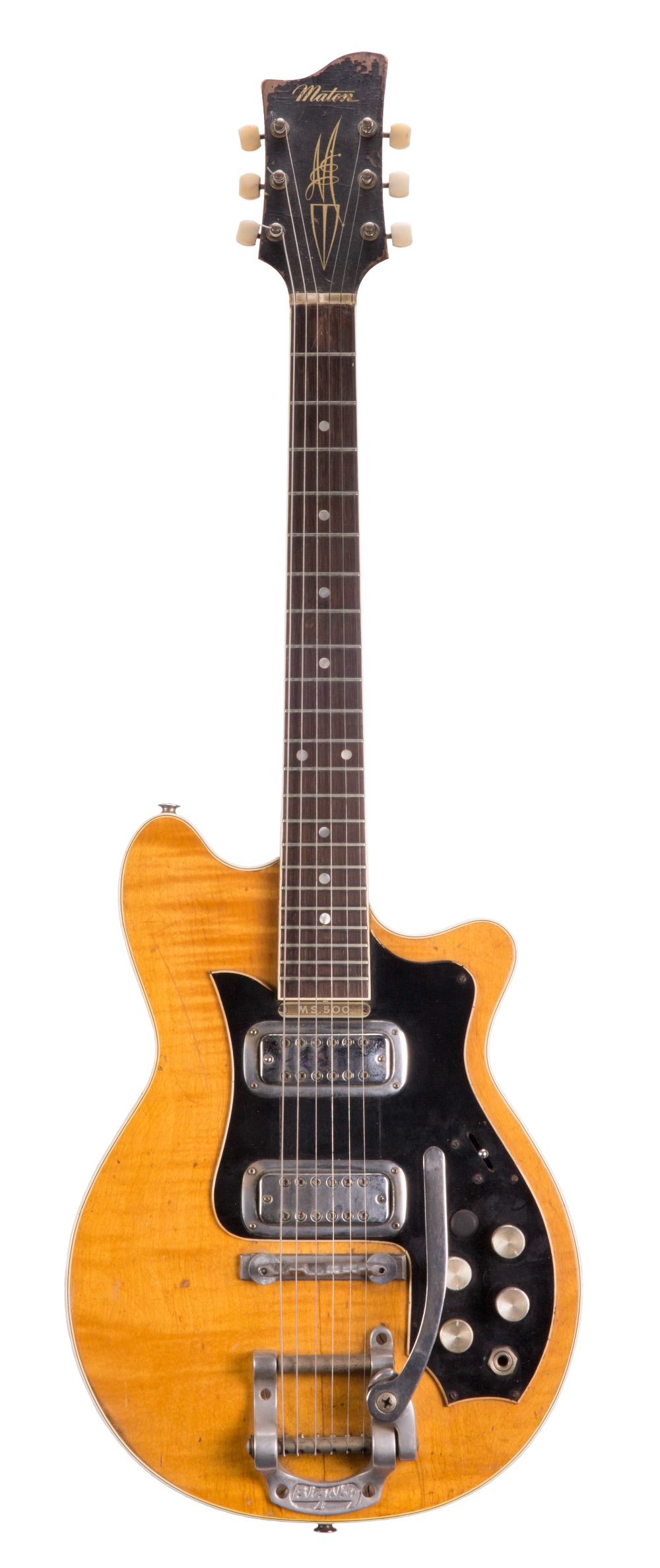 Lot 189 - George Harrison - Maton Mastersound MS-500 electric guitar, stage-played with The Beatles during