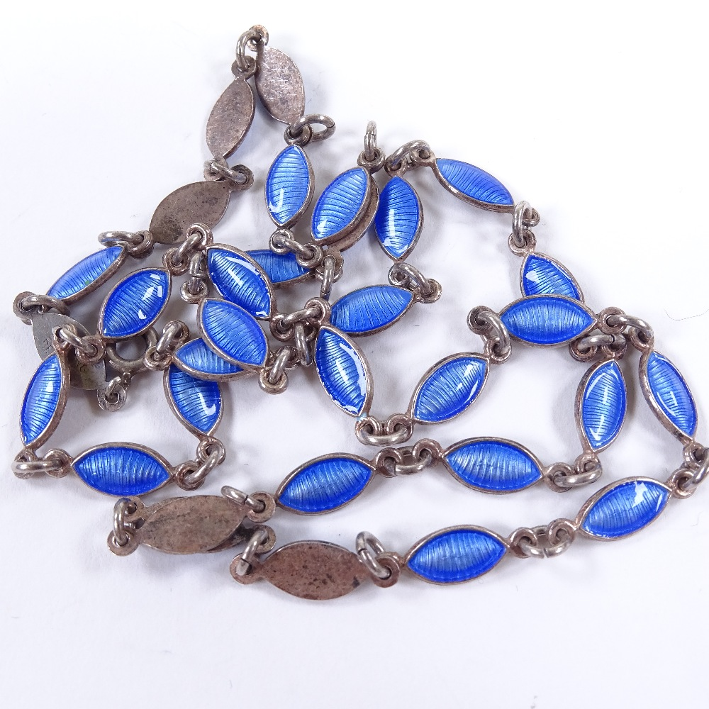VOLMER BAHNER - a Vintage Danish sterling silver and blue enamel necklace, marquise enamelled - Image 5 of 5