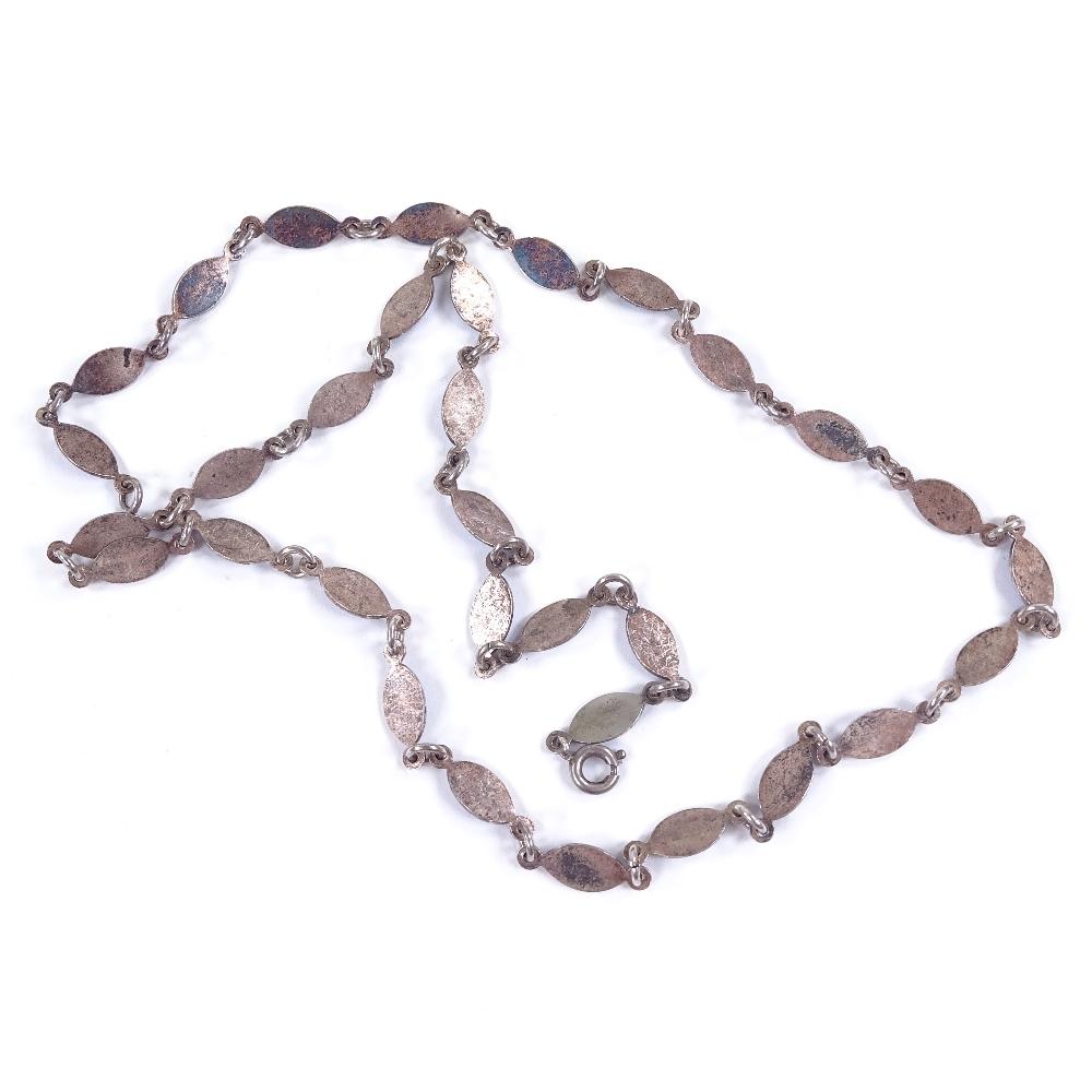 VOLMER BAHNER - a Vintage Danish sterling silver and blue enamel necklace, marquise enamelled - Image 3 of 5
