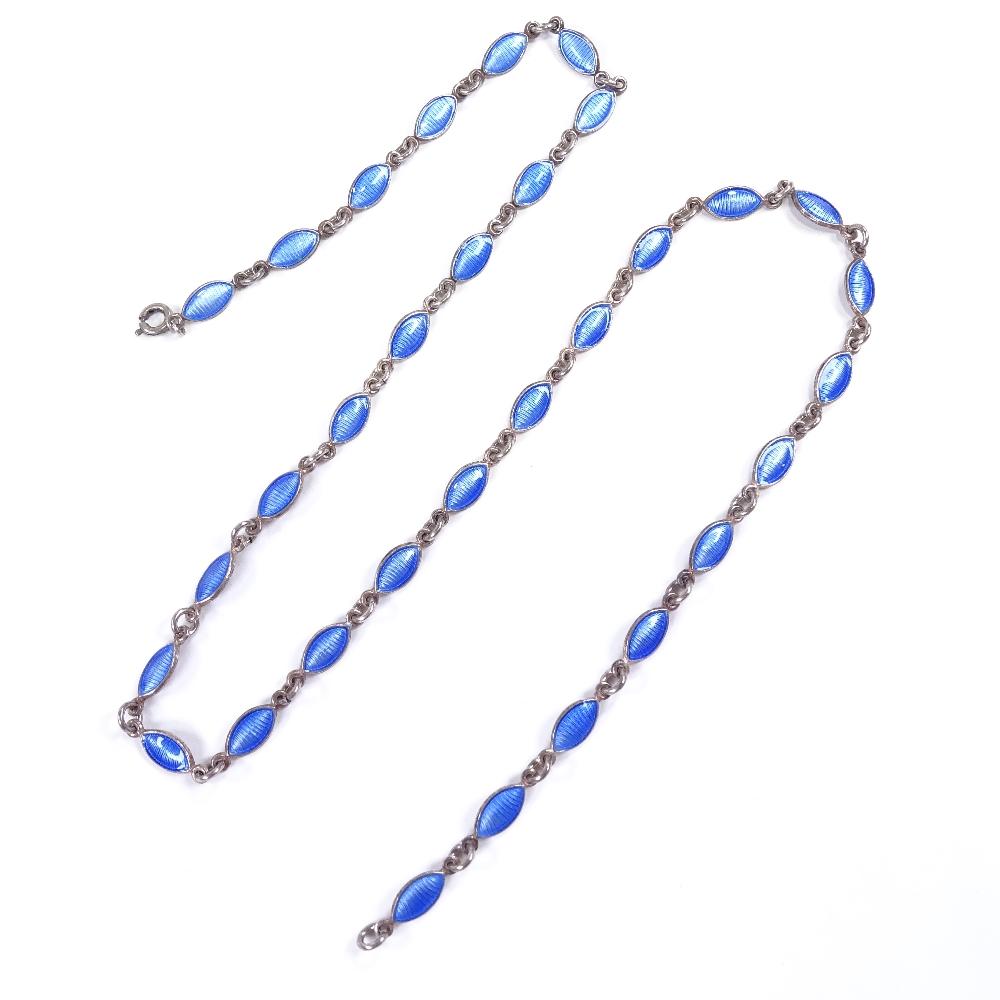 VOLMER BAHNER - a Vintage Danish sterling silver and blue enamel necklace, marquise enamelled - Image 2 of 5