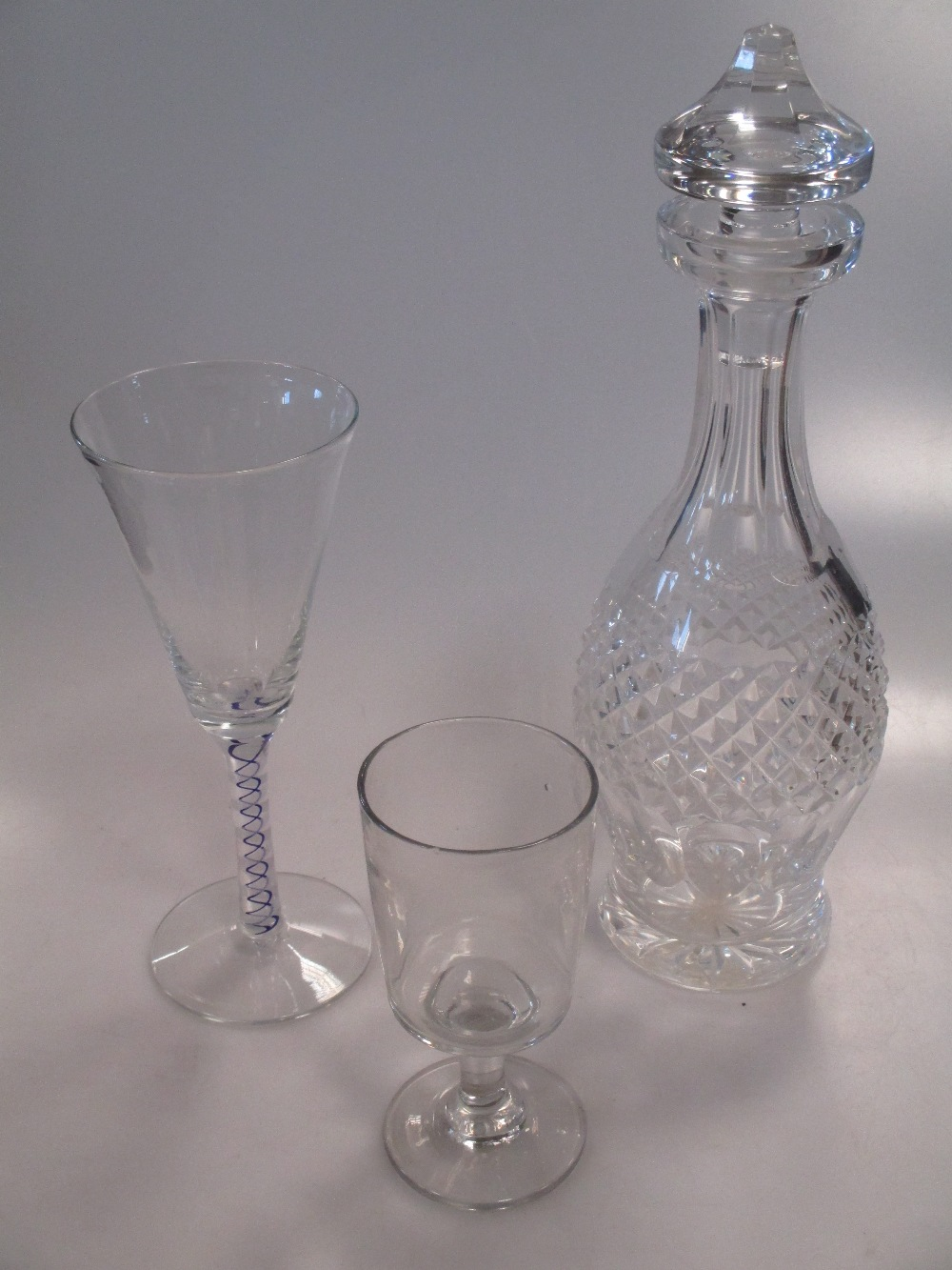 Lot 58 - Glass, various, some signed, and a pair of pierced candleholders