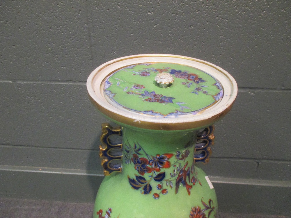 Lot 62 - A Masons Ironstone pottery floor vase in the Oriental taste with cover
