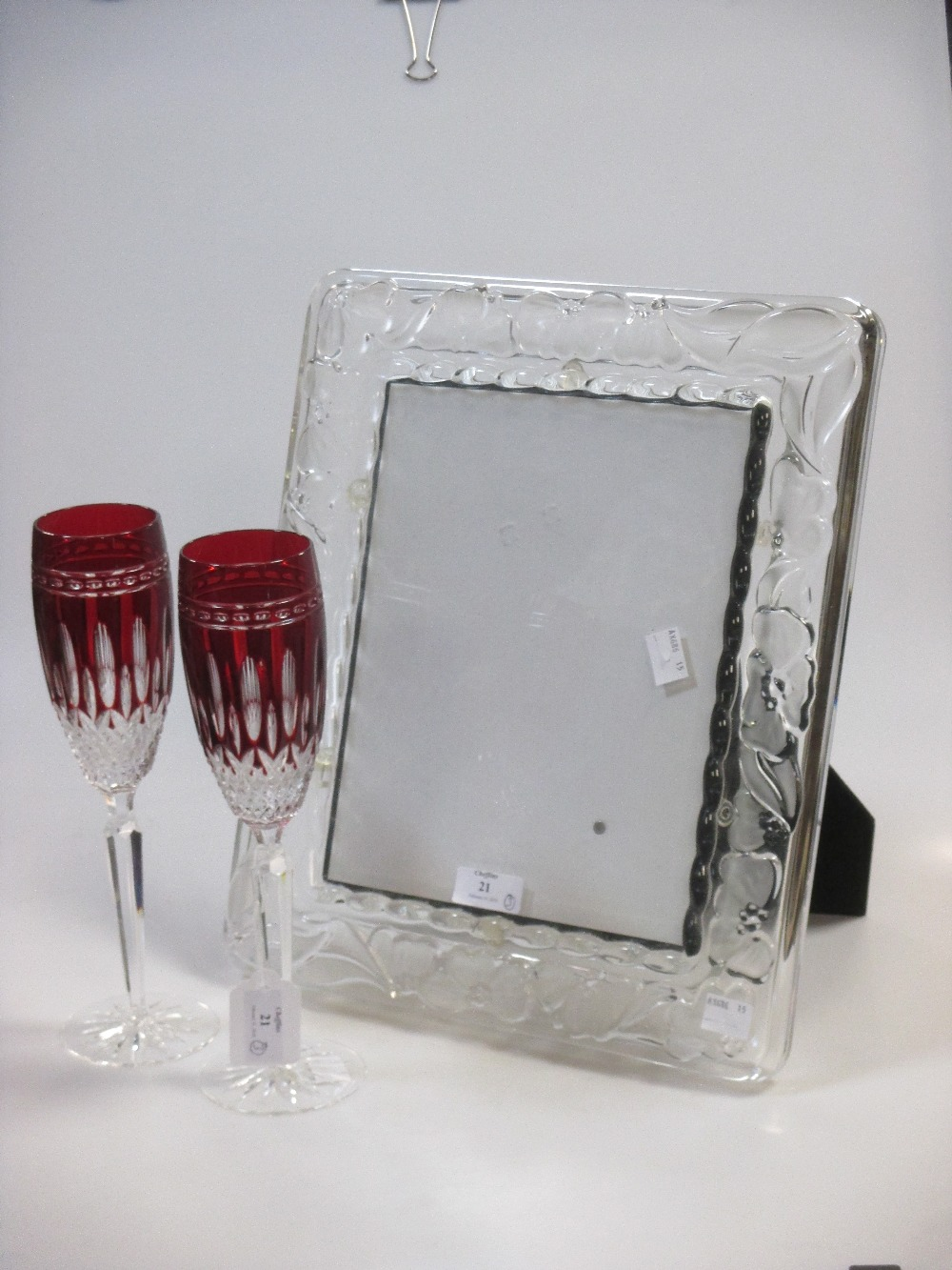 Lot 21 - A Waterford frame 'Marquis' & a pair of tall Waterford glasses (3)