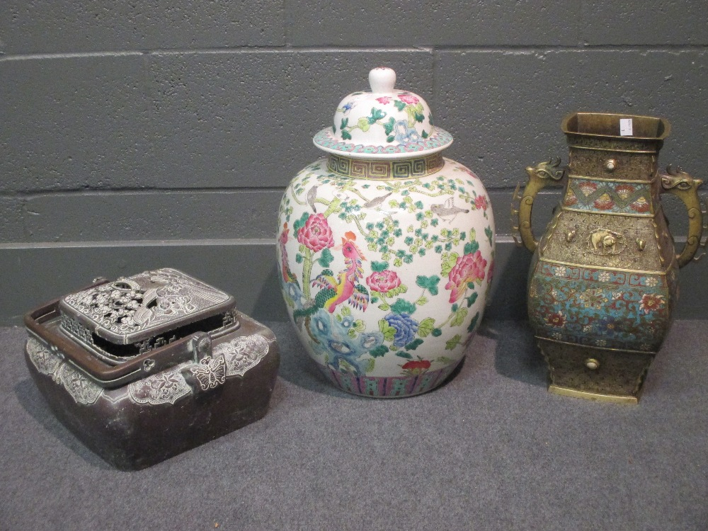 Lot 60 - Large famille rose vase and cover, a Japanese bronze censor and a bronze and enamel vase