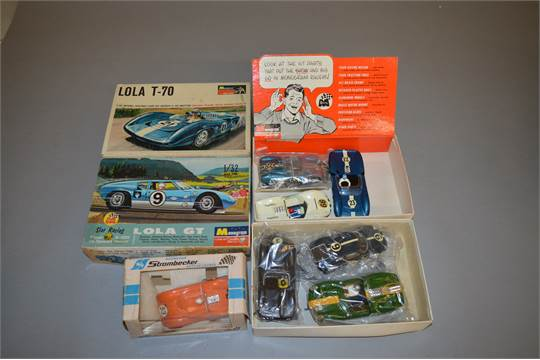 Slot-Cars Built slot car kits by various makers x 6, together with 2