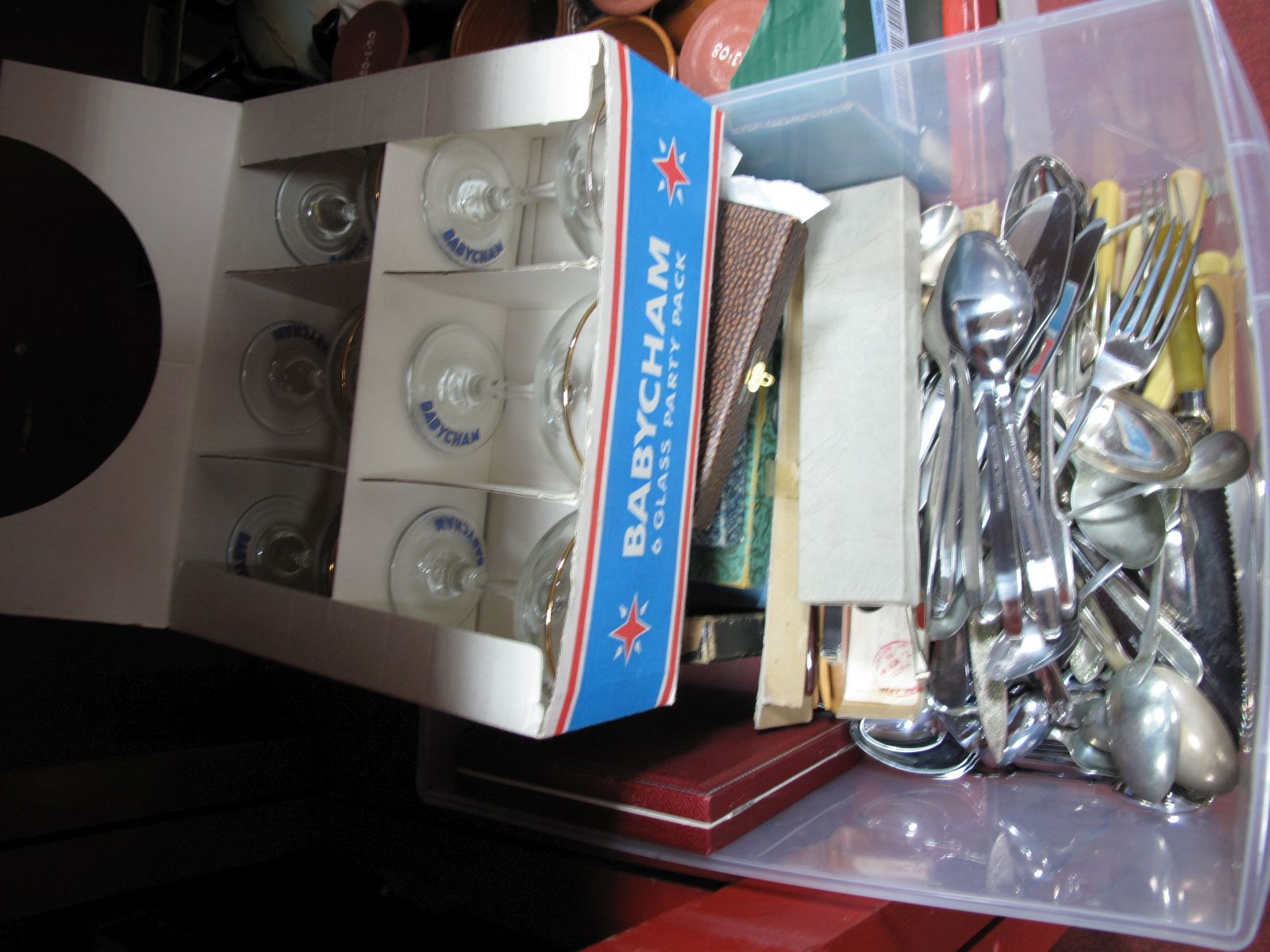 Lot 25 - A Quantity of Cased and Loose Cutlery, six Babycham glasses, in original box.
