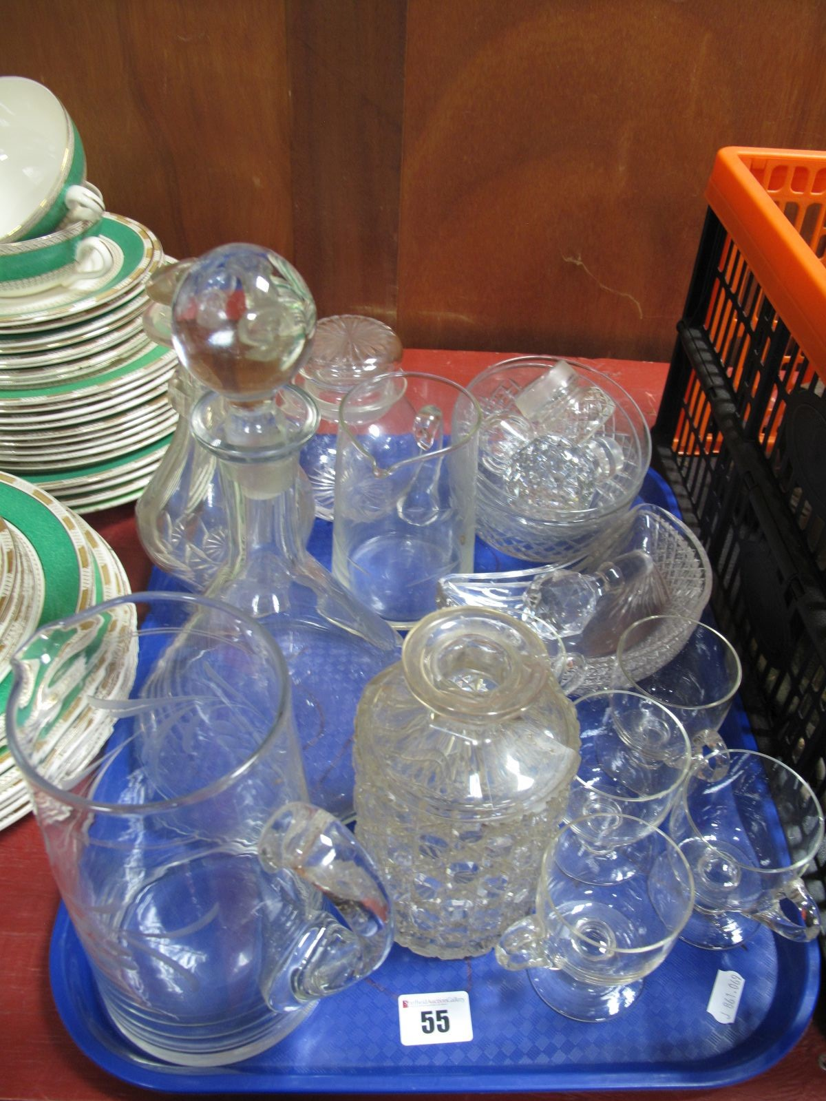 Lot 55 - Custard Glasses, decanters, bowls, etc:- One Tray