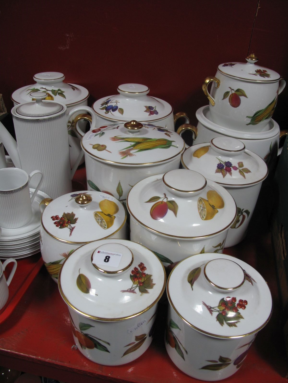 Lot 8 - Worcester 'Evesham' Ten Large Various Lidded Jars, pots.