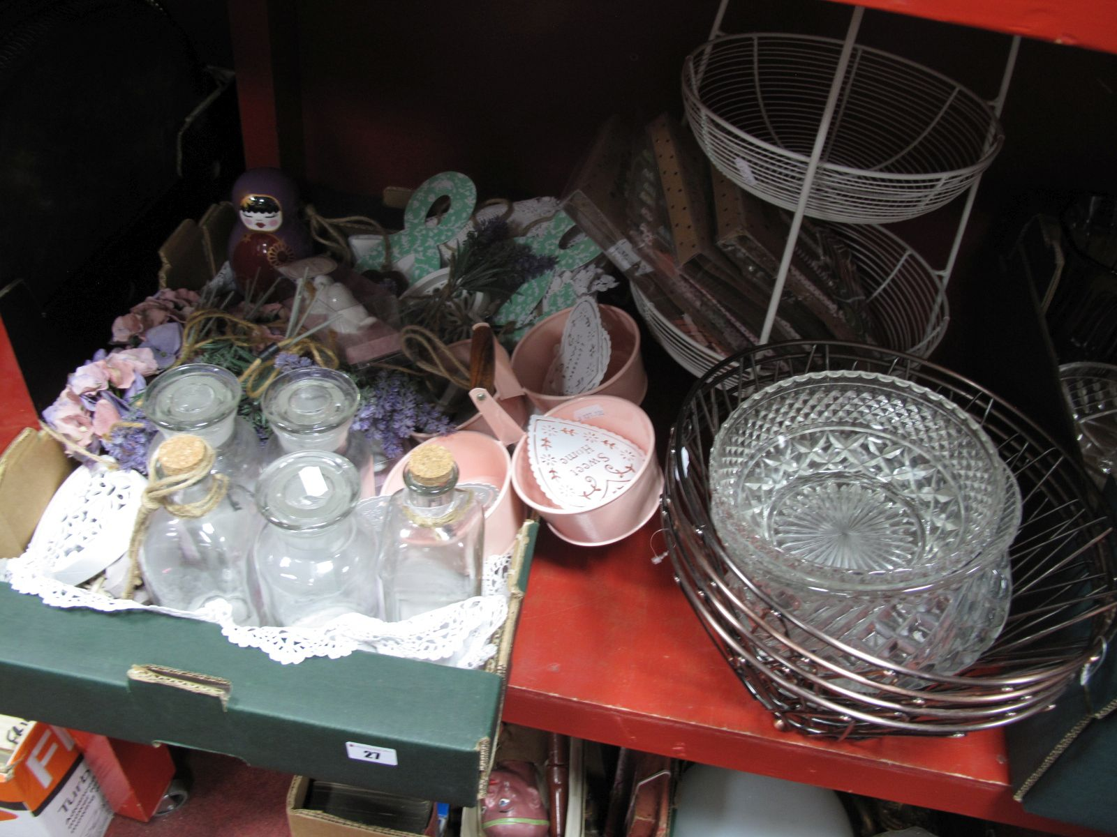 Lot 27 - Vintage Style Glass Bottles, hanging hearts, linens, boxed cruets, etc:- One Box, two tier wire