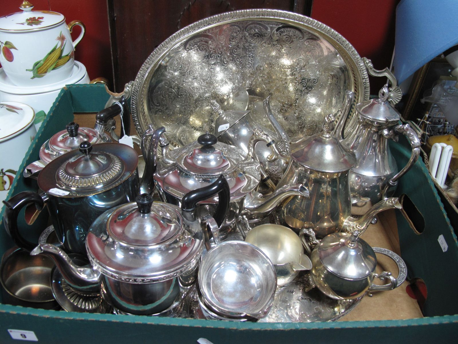 Lot 9 - Assorted Plated Teasets, trays, etc:- One Box