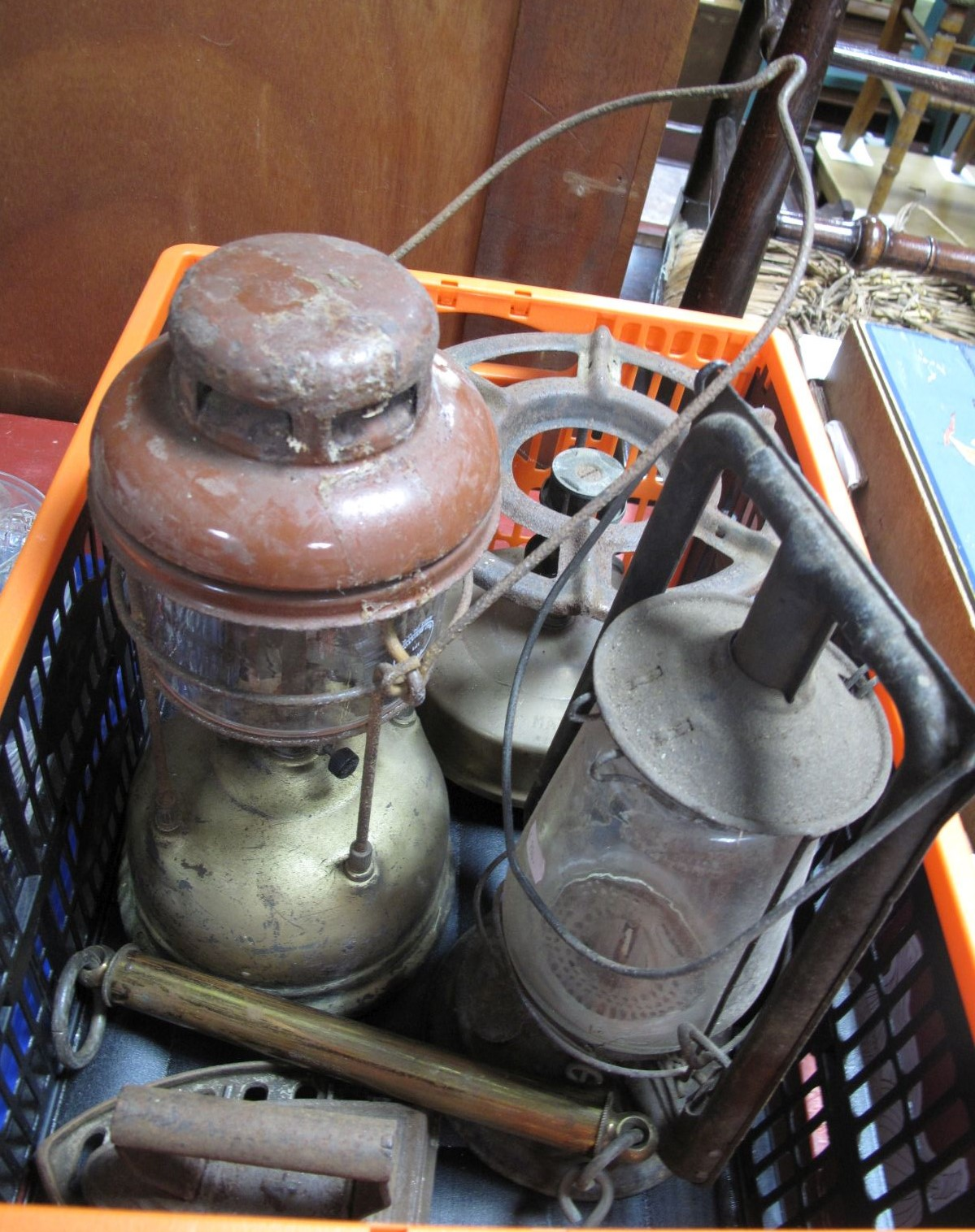Lot 56 - Two Hurricane Lamps, Primus stove, flat irons, Salter spring scales.