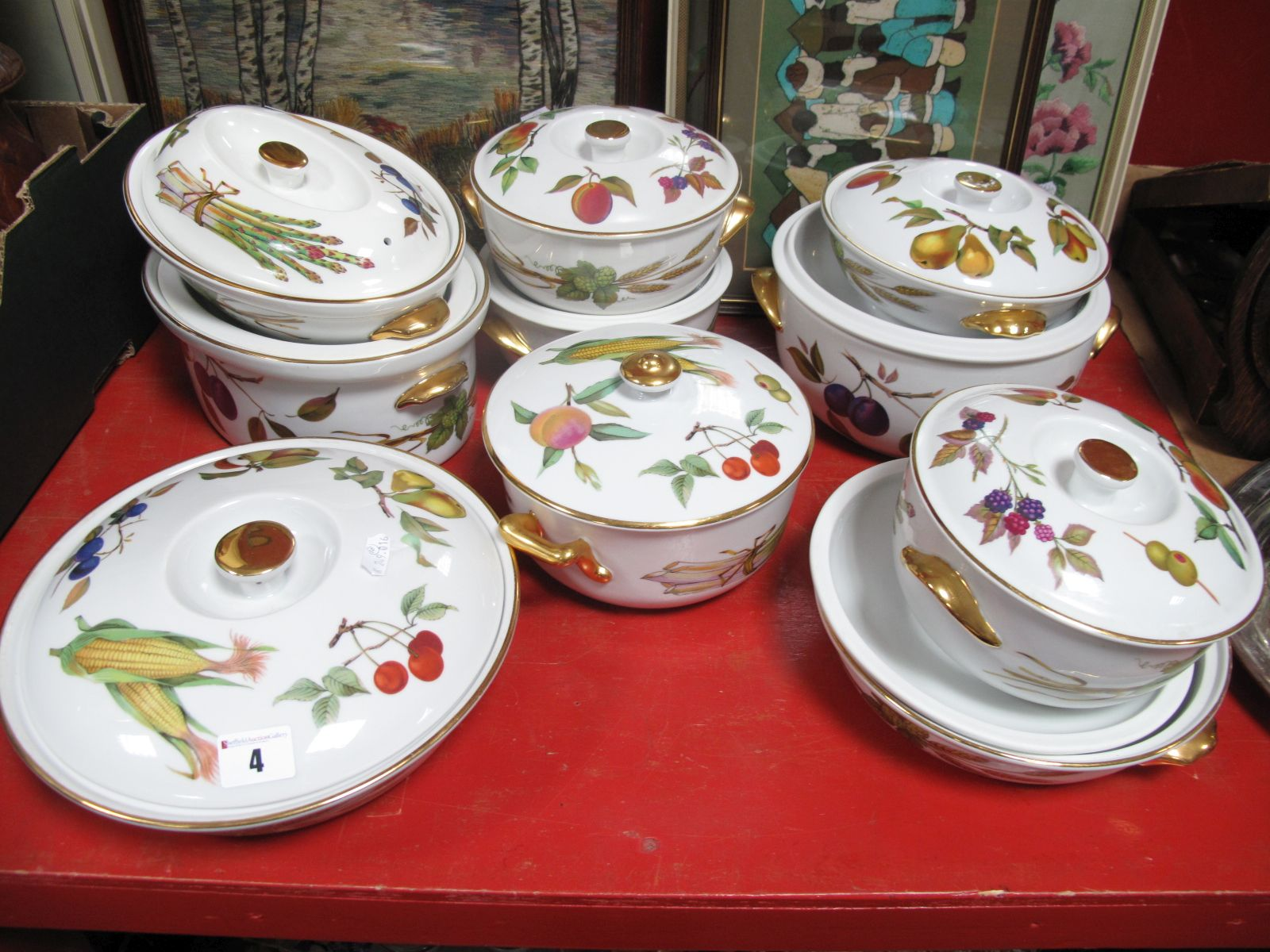 Lot 4 - Worcester 'Evesham' Ten Large Various Lidded Casserole Pots,