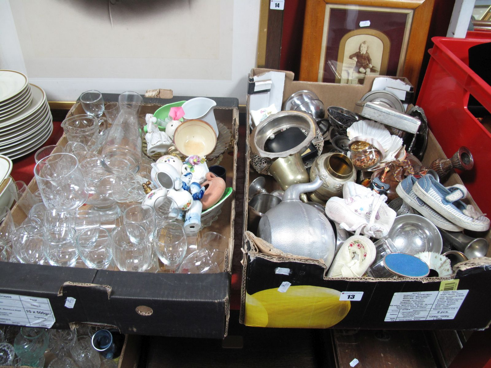 Lot 13 - A Quantity of Plate and Glassware, dolls shoes, shells, figures, sauce boat, etc:- Three Boxes