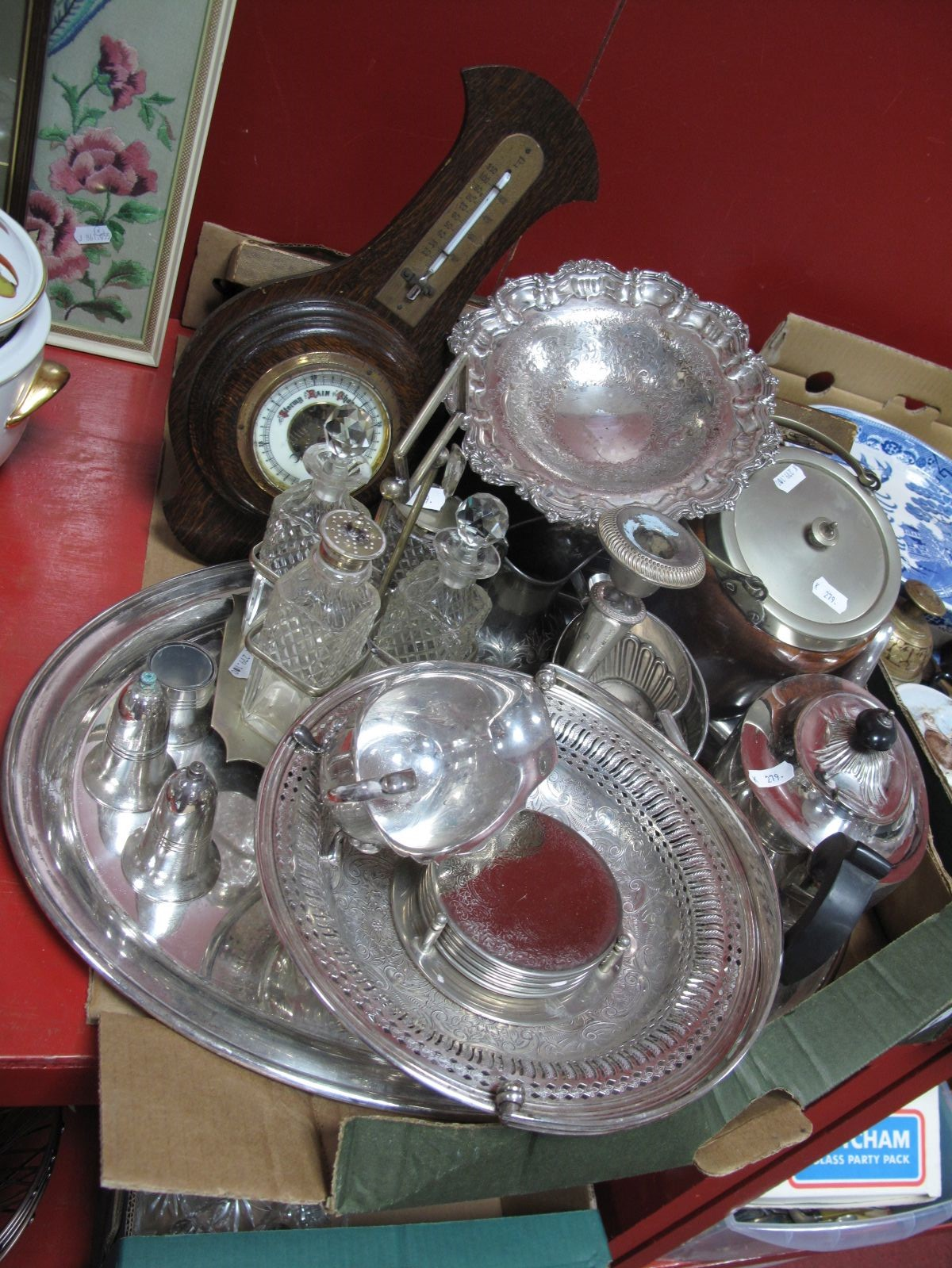 Lot 6 - A Collection of Assorted Plated Ware, including three piece teaset, condiment stand, swing handled