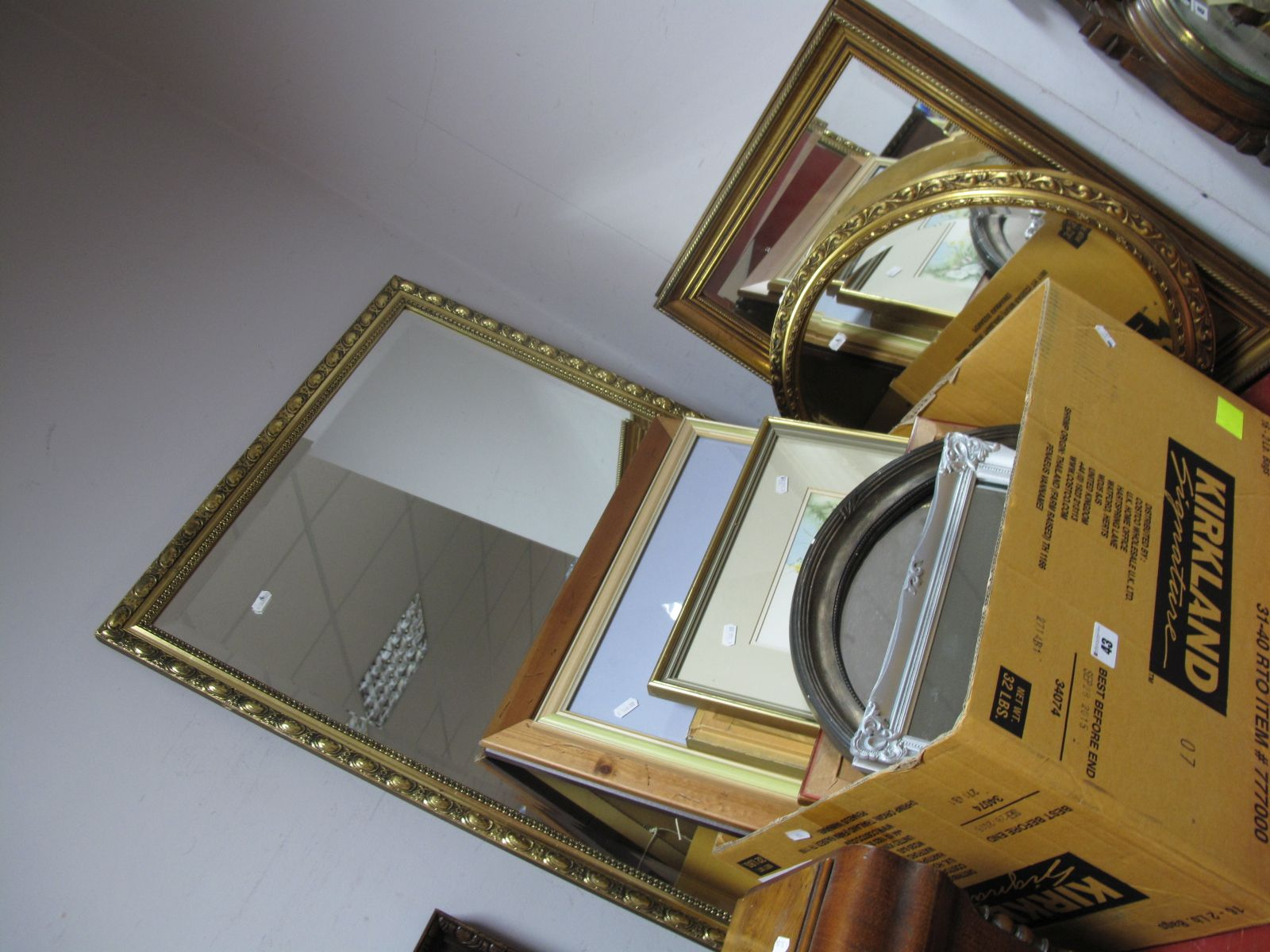 Lot 43 - A Rectangular Bevelled Wall Mirror, in gilt frame, another smaller and others; W. A. Tait, D. N.
