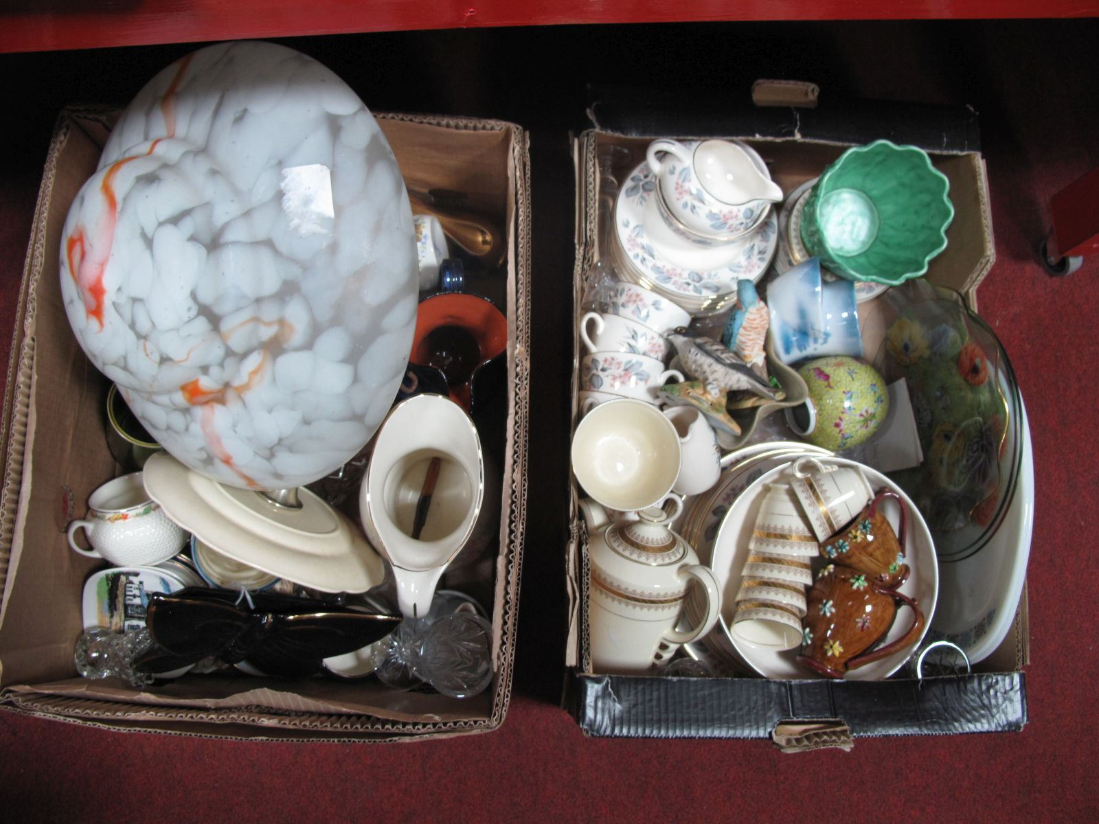 Lot 38 - A Mottled Glass Ceiling Light Shade, Newhall cottage ware, Ducal dinner ware, other ceramics:- Two