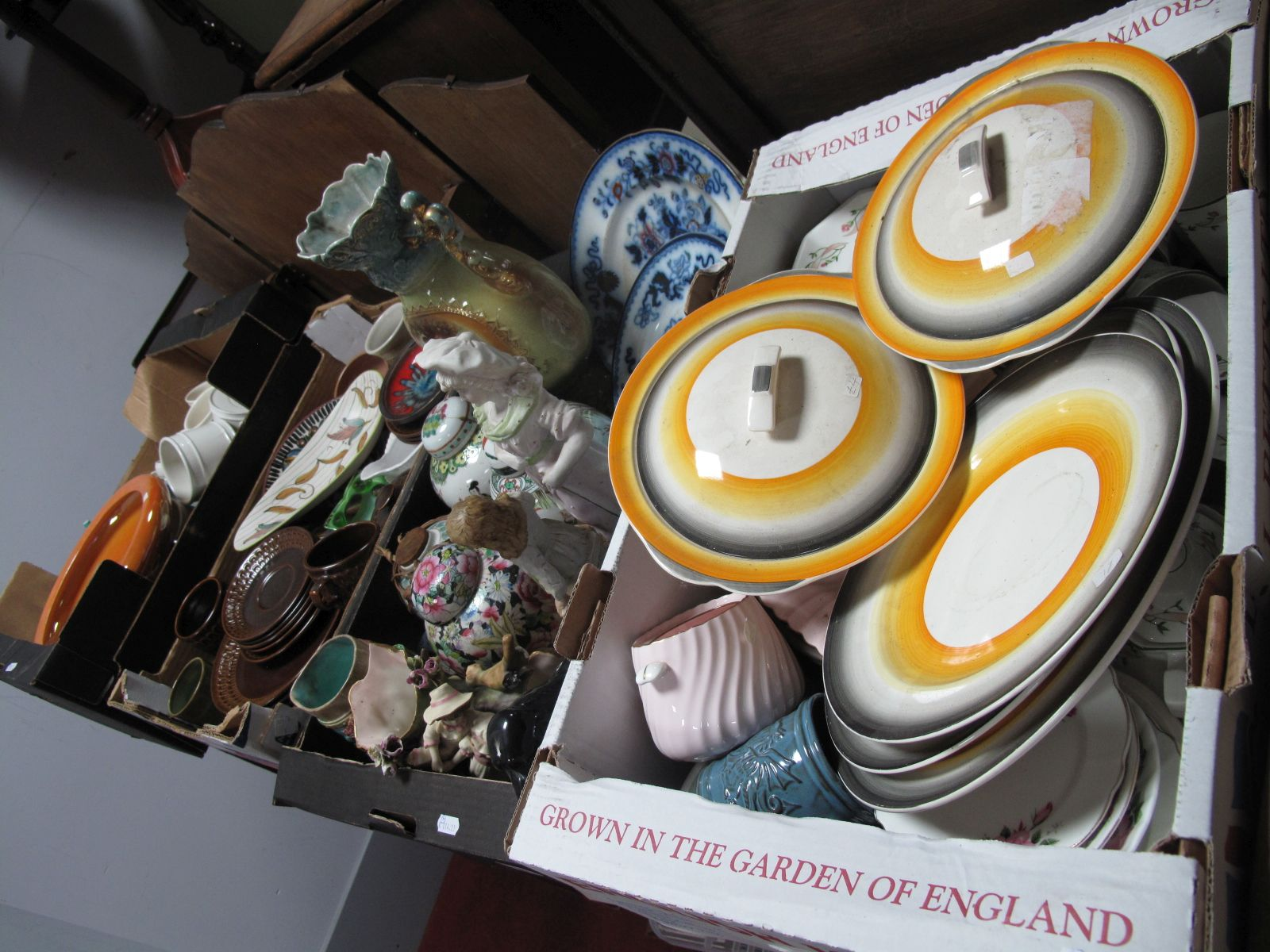 Lot 50 - Wedgwood Table Wares, Devon lustre bowl, China and pottery tea and dinner wares (three boxes);