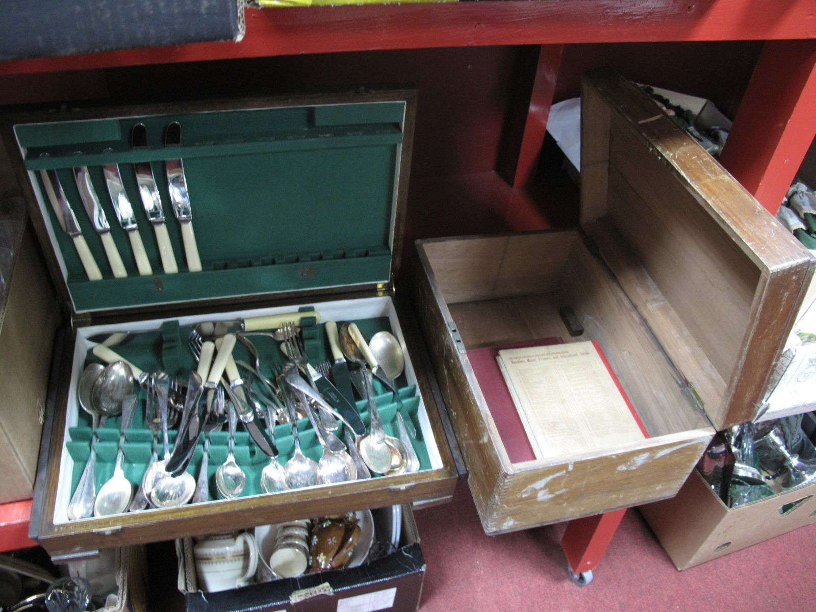 Lot 19 - An Oak Canteen of Richardson Sheffield Cutlery, two music books, wooden carry box.