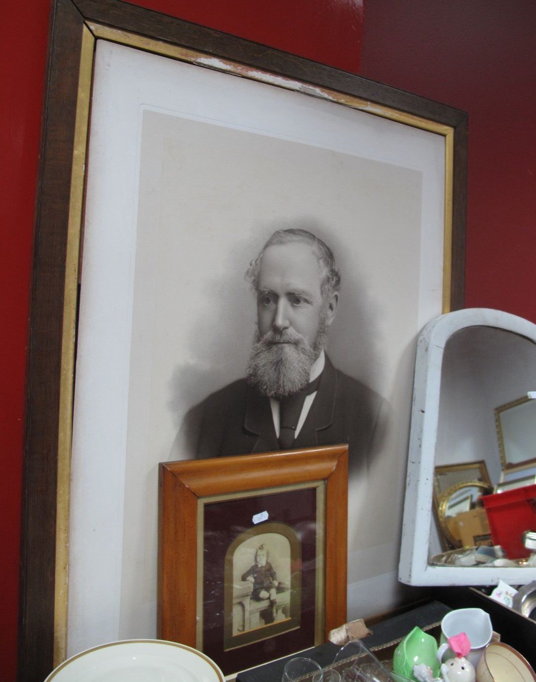 Lot 14 - Early XX Century Photo Portrait of a Gentleman, 60.5 x 48cm, in an oak frame, small photographs of