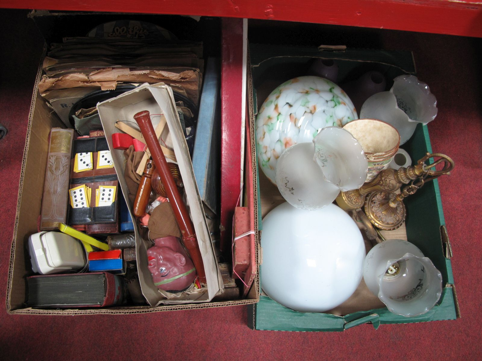 Lot 34 - A Box of Light Fittings, including a white opaline glass bathroom lamp, a three branch brass ceilin
