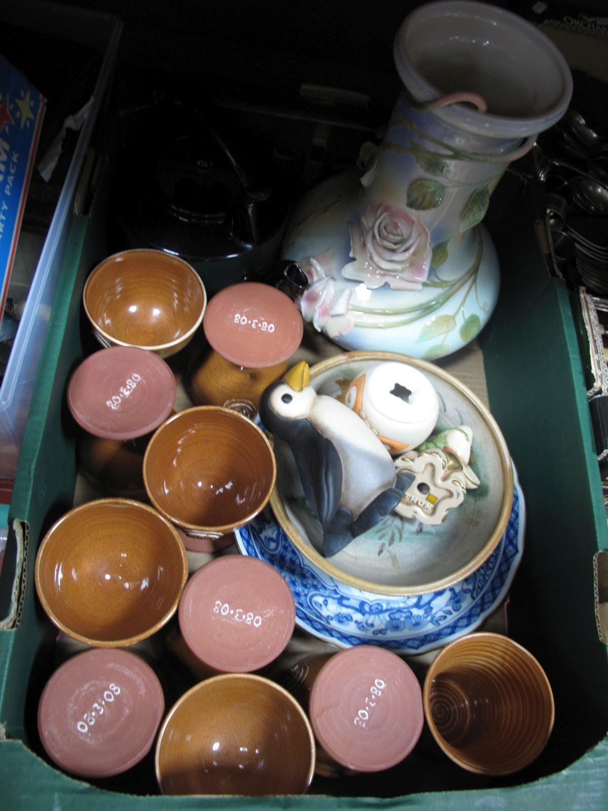 Lot 24 - G. G. Santiago Franz Vase, teapot, studio bowl, Thun figurines, etc:- One Box