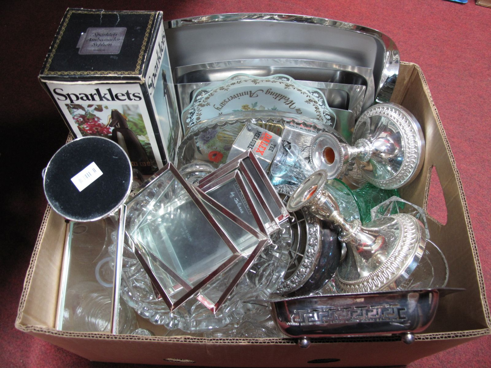 Lot 39 - Stainless Steel Trays, glass and plated ware:- One Box
