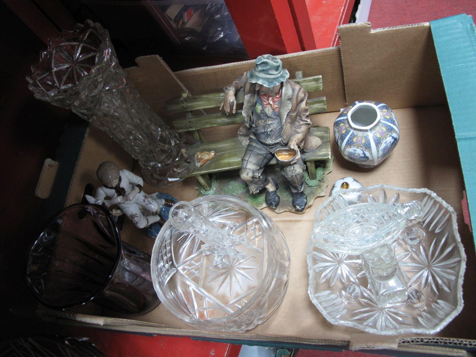 Lot 26 - A Tramp Figure, amethyst glass vase, ginger jar, etc:- One Box