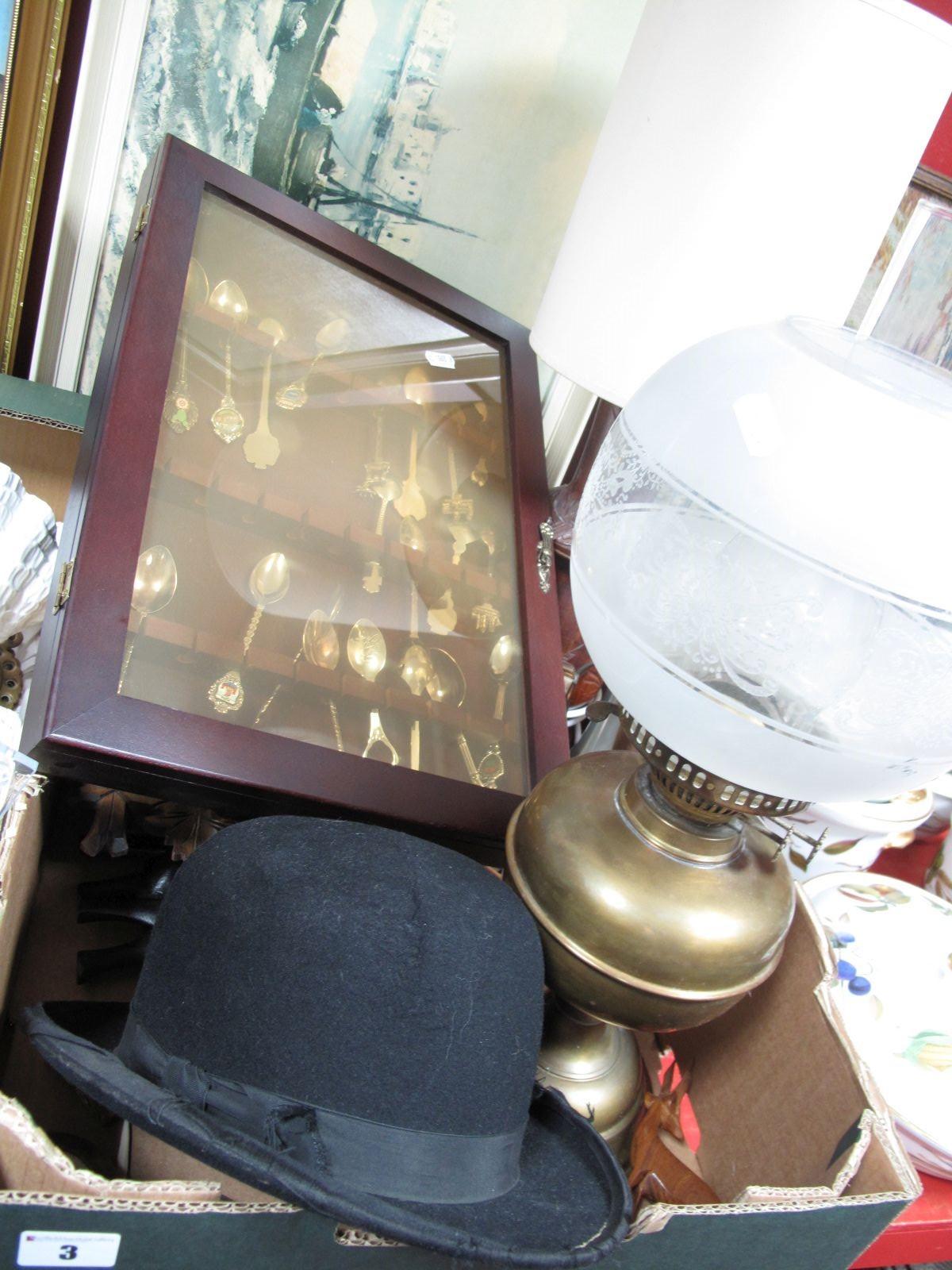 Lot 3 - An Early XX Century Parafin Lamp, an Atlas Brand bowler hat, carved wooden cuckoo clock, metamec