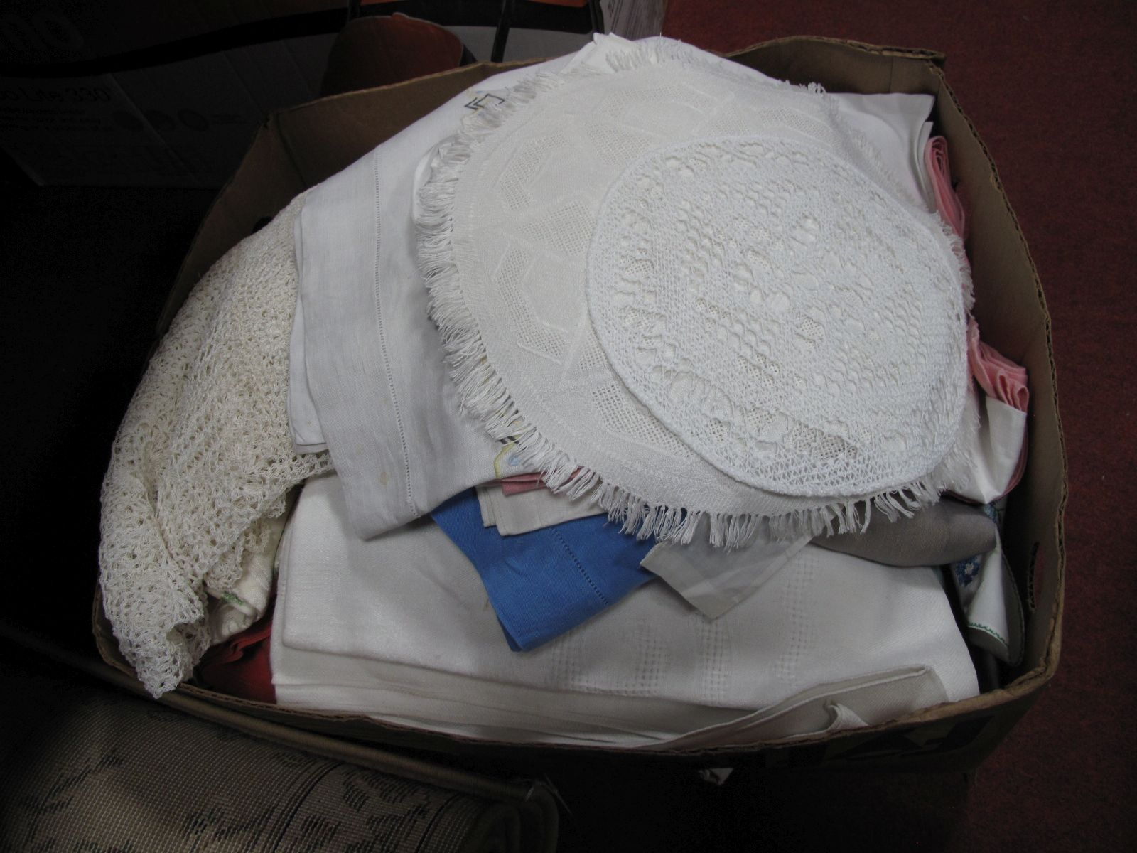 Lot 32 - Linen Tablecloths, embroidered tablecloths, doilies, etc:- One Box