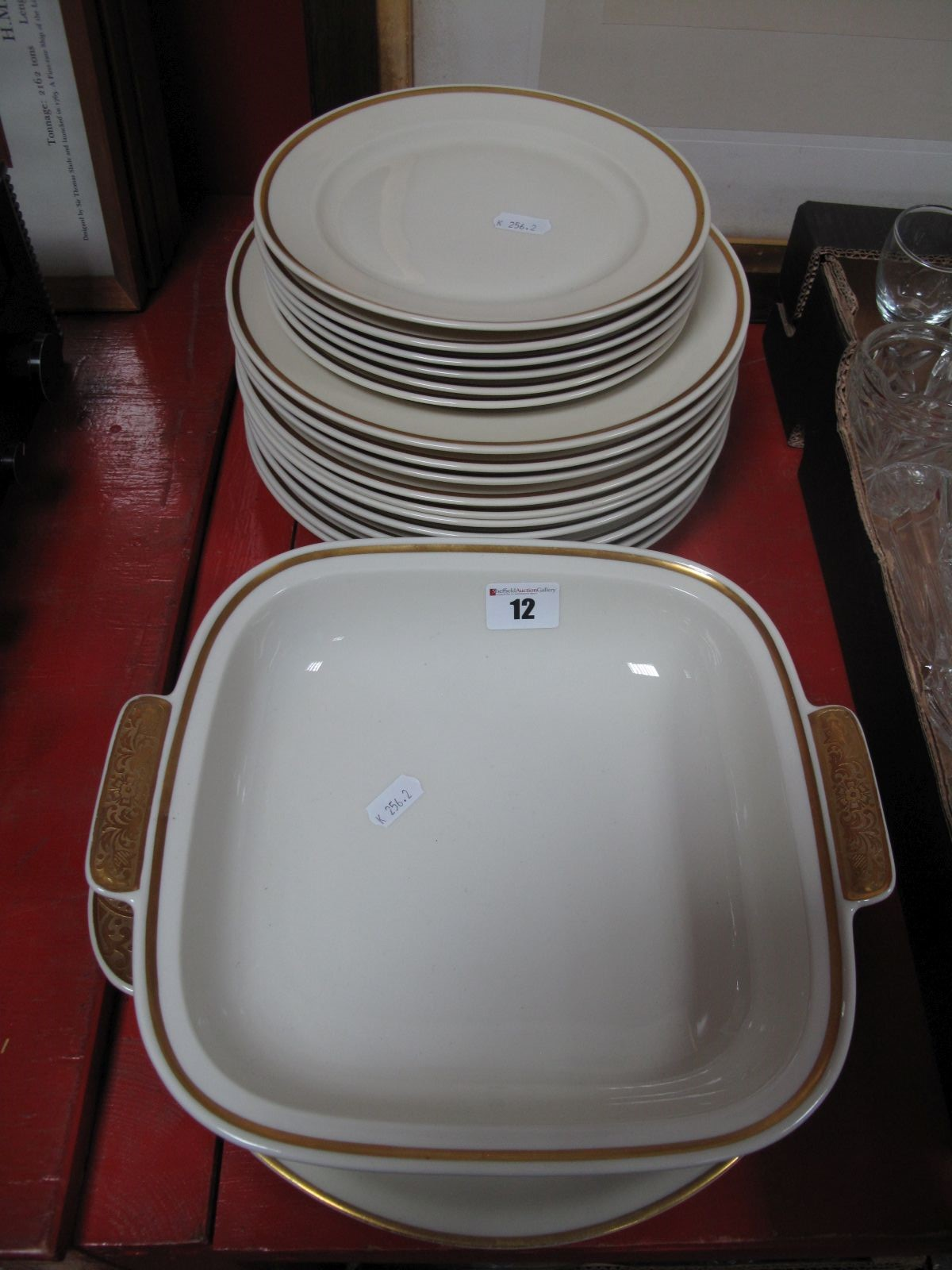Lot 12 - Volrsledt(?) Continental Part Dinner Service, including plates, tureen, side plates, etc, all with