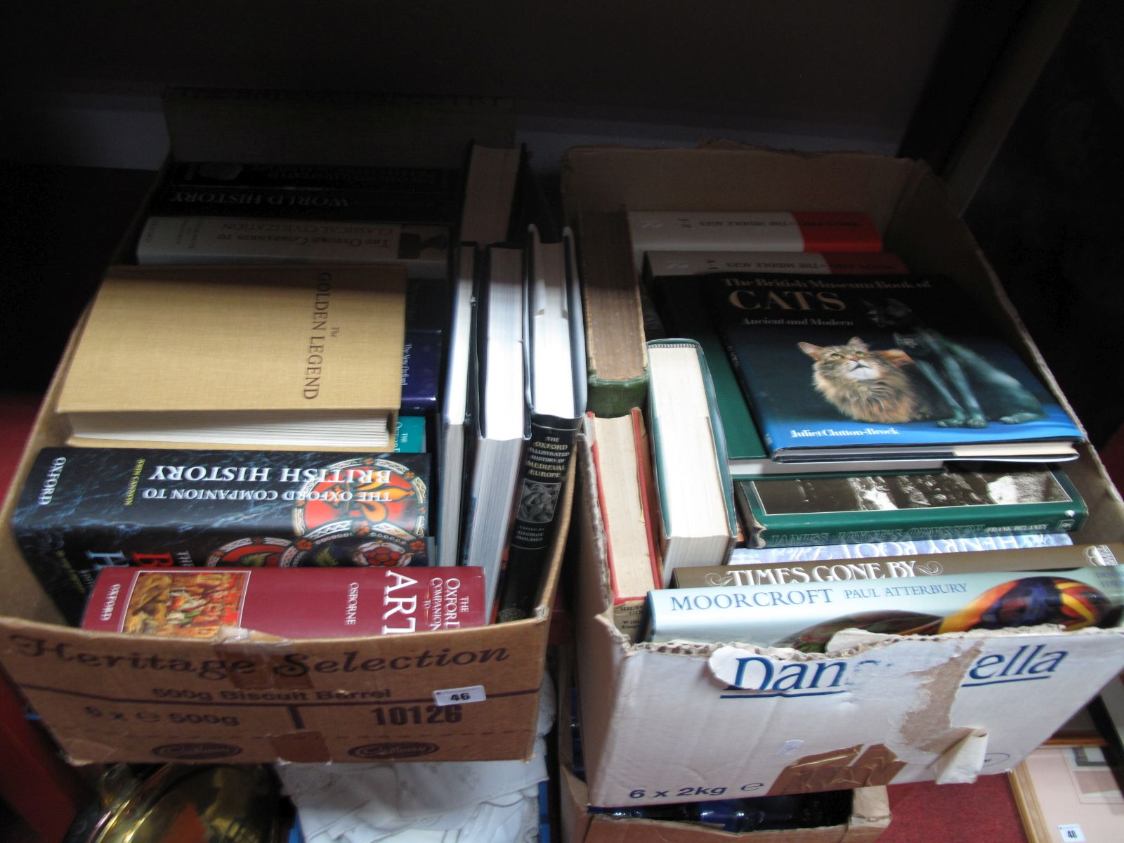 Lot 46 - Books, Moorcroft by Paul Atterbury, Henry Root, Thomas Hardy, The Bayeux Tapestry, etc:- Two Boxes