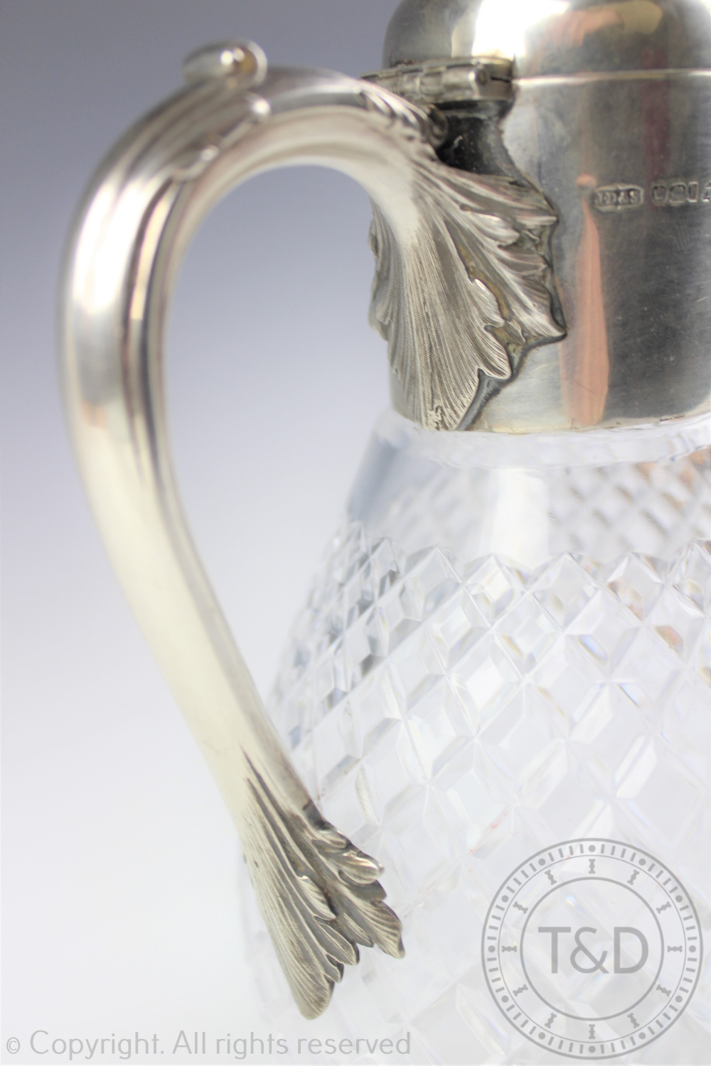 Lot 53 - A Victorian silver mounted claret jug, James Dixon and Sons, Sheffield 1894,