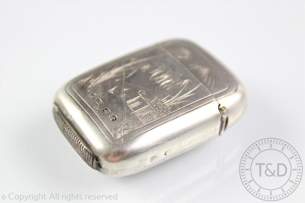 Lot 59 - A silver vesta case, Birmingham 1879,