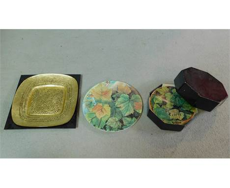 A collection of French Gien china plates with vine leaf decoration, makers stamp to the back along with a large foil backed g