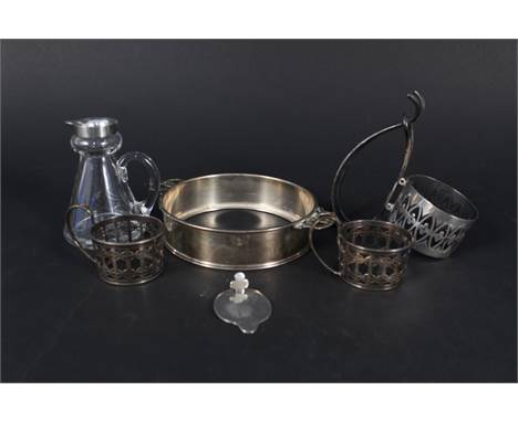 Mixed silver items including cup holders with pierced design, silver lidded whisky noggin (as found) etc