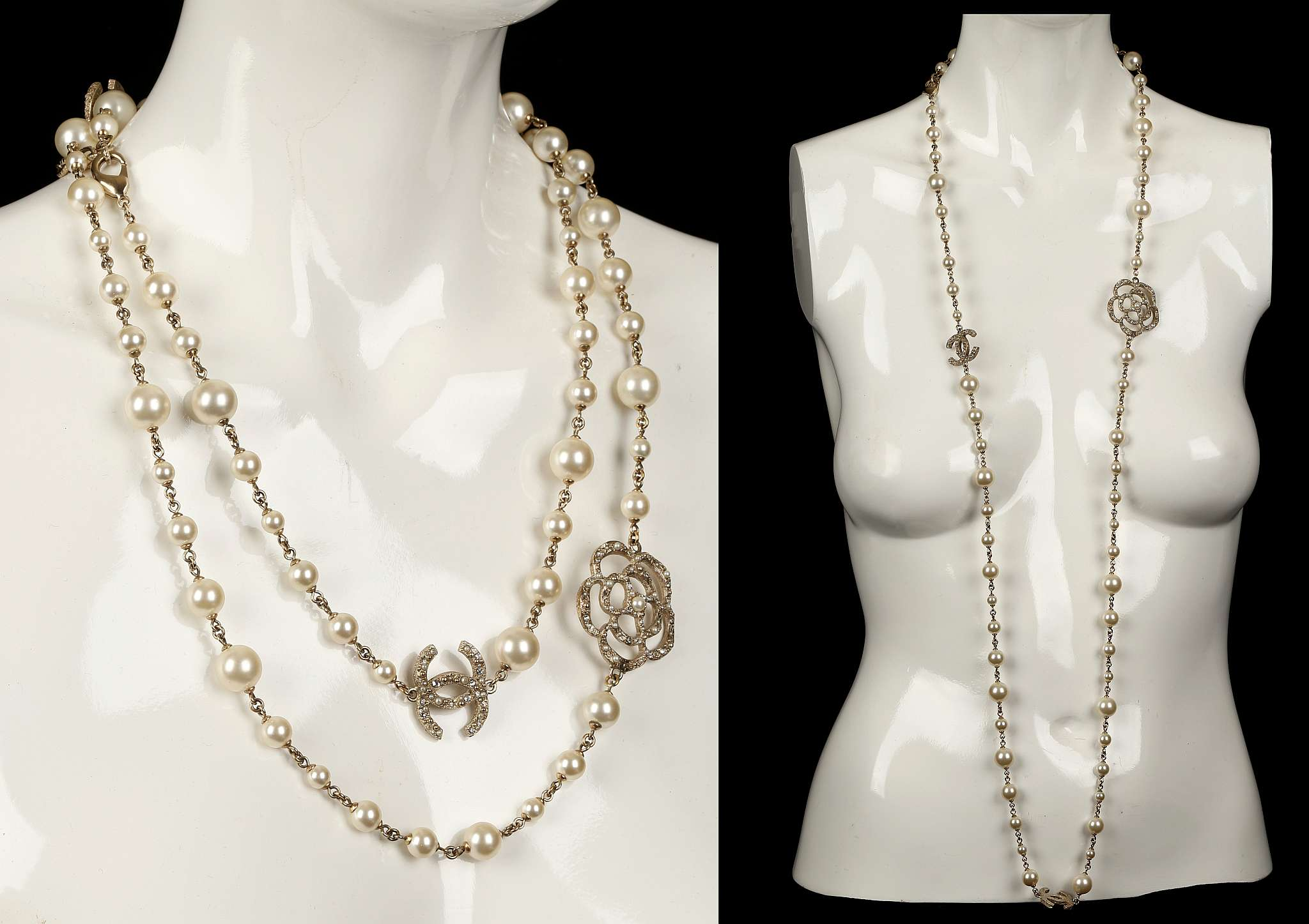 Lot 141  Chanel Long Faux Pearl Camellia Necklace, Dated 2014, Single Pearl  Strand