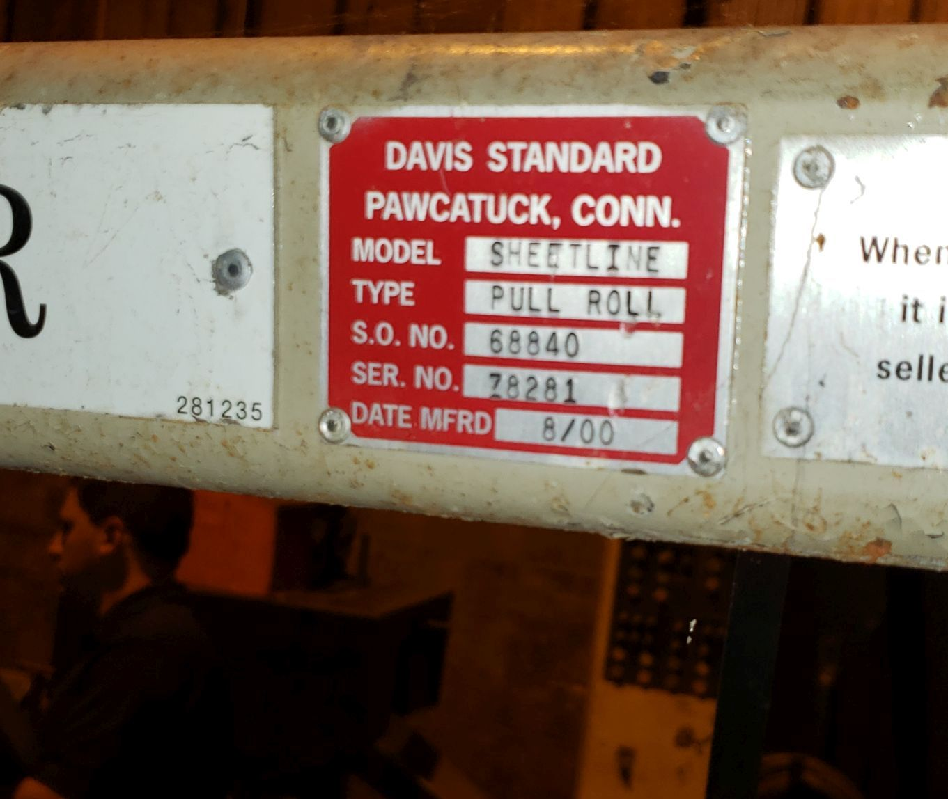"Lot 161 - 36"" Davis-Standard pull roll stand, 8"" diameter x 36"" wide rubber pull rolls, pneumatically adjusted"
