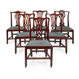 MATCHED SET OF SIX GEORGE III MAHOGANY DINING CHAIRS 18TH CENTURY