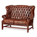 LEATHER UPHOLSTERED WINGBACK SETTEE MODERN