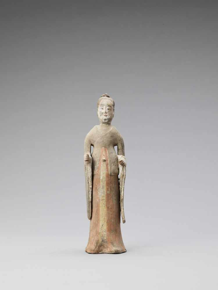 A TL-TESTED TERRACOTTA FIGURE OF A COURT LADY, TANG