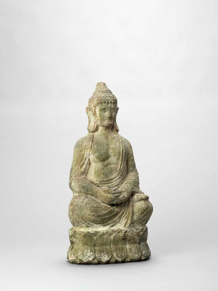 A TERRACOTTA FIGURE OF BUDDHA, 19TH CENTURY - Bild 5 aus 6