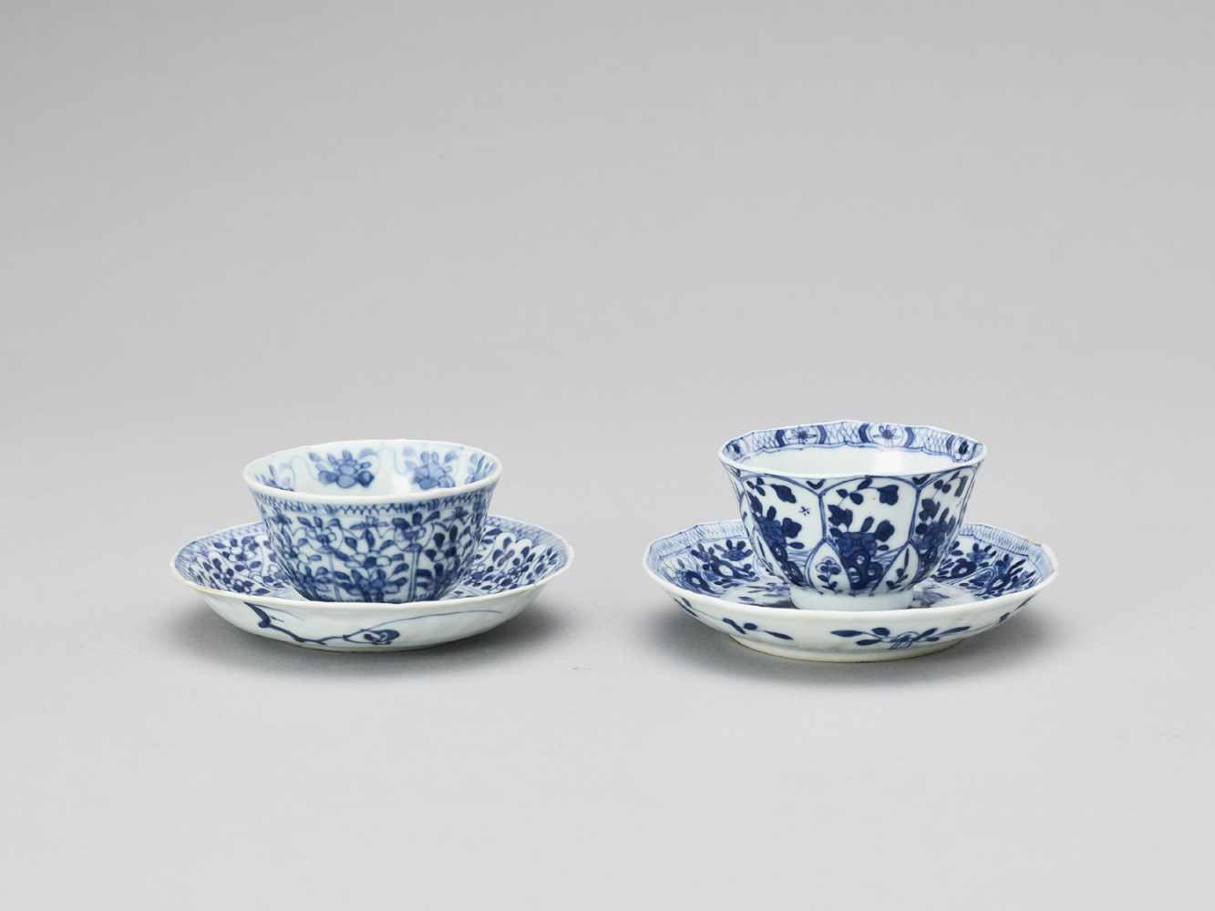 A PAIR OF BLUE AND WHITE PORCELAIN CUPS WITH MATCHING PLATES, KANGXI