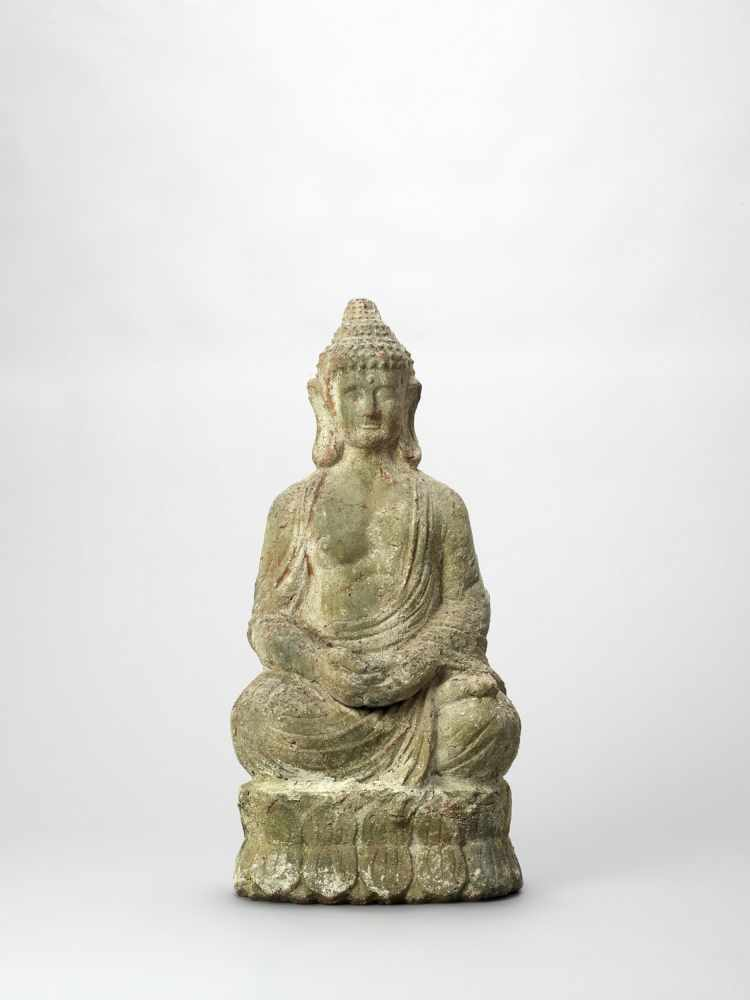 A TERRACOTTA FIGURE OF BUDDHA, 19TH CENTURY