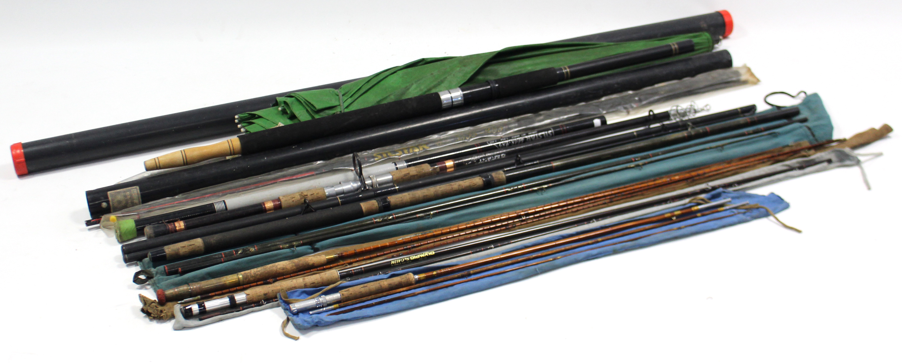 Lot 128 - Seven various fishing rods; three fishing reels; & various other angler's accessories.