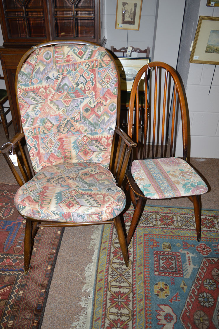Lot 692 A Set Of Four Ercol Spindle Back Chairs Together With An Ercol